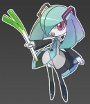 clothing cosplay female hatsune_miku humanoid kirlia leek legwear low_res nintendo not_furry pokémon pokémon_(species) ribbons shiny_pokémon skirt solo thigh_highs unknown_artist video_games vocaloid