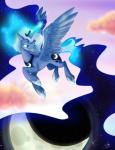 balddumborat cutie_mark equine female feral friendship_is_magic horn mammal moon my_little_pony night princess_luna_(mlp) smile solo winged_unicorn wings   Rating: Safe  Score: 15  User: KrzykaczNerwus  Date: September 30, 2013