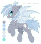 bat_pony blue_eyes blue_hair cutie_mark fan_character feral fur grey_fur hair hioshiru hooves mammal membranous_wings model_sheet my_little_pony nude simple_background smile solo white_background wings