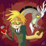 blonde_hair cartoon courage_the_cowardly_dog crossover discord_(mlp) draconequus duo freaky_fred friendship_is_magic fur grin hair horn male mpl52293 my_little_pony red_eyes teeth   Rating: Safe  Score: 2  User: Vergil.exe  Date: March 02, 2015