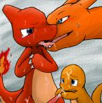 ambiguous_gender blush charizard charmander charmeleon cum cum_on_face dragon feral fire group group_sex handjob kissing male nintendo penis pokémon scalie sex size_difference sweat tears threesome tongue unknown_artist video_games   Rating: Explicit  Score: 2  User: Zest  Date: July 25, 2014