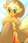 anthro anthrofied applejack_(mlp) blonde_hair breasts chaps clothing cowboy_hat equine female friendship_is_magic fur fyxefox green_eyes hair hat horse my_little_pony orange_fur panties pony underwear   Rating: Safe  Score: 10  User: DaftMink  Date: August 12, 2013