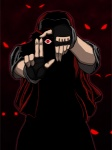 2009 abstract_background alucard_(hellsing) clothing crossover fingerless_gloves gloves glowing glowing_eyes hat hellsing human krychasuke male mammal nintendo not_furry parody pokémon pose red_(pokémon) red_eyes simple_background solo video_games