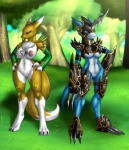anthro armor big_breasts black_sclera blue_skin breasts canine chest_tuft claws clitoris clothing crovirus digimon dragon duo elbow_gloves female flamedramon fluffy_tail fox fur gloves green_eyes kanji looking_away mammal markings nipples nude piercing pussy red_eyes renamon scalie standing straps tattoo thigh_gap toe_claws tree tuft white_fur yellow_fur  Rating: Explicit Score: 39 User: APimpFromBuffalo Date: January 31, 2013