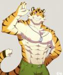 abs biceps big_muscles chest_tuft clothed clothing dog_tags feline fur half-dressed male mammal muscular nipples o-ro one_eye_closed pants pecs pink_nose smile solo tiger topless tuft waving wink  Rating: Safe Score: 9 User: Vallizo Date: September 29, 2015