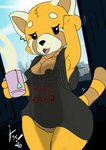 absurd_res aggressive_retsuko ailurid anthro baggy_clothing bedhead beverage bottomless clothed clothing clothing_lift curvy_figure erect_nipples female genitals hi_res irony mammal nipple_outline nipple_slip nipples parody pussy raised_arm raised_tail red_panda retsuko sanrio shirt shirt_lift solo tea topwear waking_up wide_hips xoti_(artist)