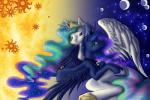 anadukune duo equine feral friendship_is_magic horn horse mammal my_little_pony pony princess princess_celestia_(mlp) princess_luna_(mlp) royalty sibling sisters smile winged_unicorn wings   Rating: Safe  Score: 6  User: Sods  Date: March 06, 2014