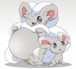 3_fingers 3_toes :d ambiguous_gender belly big_belly big_ears black_nose blue_eyes chinchira_(pixiv13404505) cinccino duo feral fur grey_fur inner_ear_fluff mammal minccino multicolored_fur nintendo one_eye_closed open_mouth overweight paws pokémon rodent shadow smile toes tongue video_games white_fur white_pupils