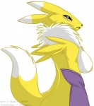 anthro bandai blue_eyes breasts canine digimon female fox looking_at_viewer mammal muzz nipples pinup plain_background pose renamon side_boob solo   Rating: Questionable  Score: 13  User: queue  Date: September 30, 2011