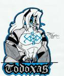 armor badge canine fox fur green_eyes grey_fur hair long_hair male mammal muscles smile solo tattoo toddrogue69 todoxas white_hair  Rating: Safe Score: 0 User: ToddRogue69 Date: August 16, 2015