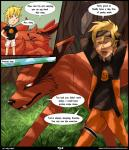 2015 5_fingers ambiguous_gender anime black_lips black_nose blonde_hair blue_eyes canine claws clothed clothing comic duo english_text exoticdreamer fox fur grass hair hi_res human humanoid_hands interspecies kurama long_mouth male mammal multiple_tails naruto naruto_uzumaki open_mouth outside red_eyes red_fur semi-anthro sharp_teeth slit_pupils snout tailed_beast teeth text tongue tree white_claws white_sclera  Rating: Safe Score: 5 User: ExoticDreamer Date: November 04, 2015
