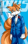 anthro black_tie_(suit) canid canine clothed clothing dm_eikyuu fox fully_clothed male mammal miles_prower solo sonic_the_hedgehog_(series) suit video_games