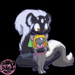 1:1 4_fingers 4_toes alpha_channel anthro big_tail black_body black_fur blonde_hair brown_eyes clothing cub duo eyes_closed female fingerless_(marking) fingers fluffy fluffy_tail fur grey_body grey_fur gym_shorts hair hi_res hug inner_ear_fluff lemmy_(lemmy_niscuit) lolly_(butterscotchlollipop) male mammal markings medicatedcannibal mephitid multicolored_body multicolored_fur shirt signature sitting_in_lap size_difference skunk spotted_skunk toeless_(marking) toes topwear tuft two_tone_body two_tone_fur white_body white_fur young
