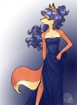 2013 anthro blue_hair breasts canine carmelita_fox clothing dress ear_piercing female fox fur gown hair piercing sly_cooper sly_cooper_(series) standing unknown_artist unknown_artist_signature video_games   Rating: Safe  Score: 17  User: slyroon  Date: April 21, 2013