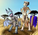 2017 anthro armpits bat bat_wings blue_hair blue_nipples breasts bulge claws clothed clothing dreamkeepers duo ear_piercing empty_eyes feathers female grass hair karo_(dreamkeepers) loincloth lord-kiyo male mammal melee_weapon membranous_wings navel nipples outside piercing polearm red_eyes scalie skull spear teeth topless tree vanth weapon wings yellow_sclera