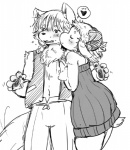 """black_and_white blush canine caprine clothed clothing duo eyes_closed female fur hair interspecies kemono kissing male mammal monochrome open_mouth plain_background predator/prey_relations setouchi_kurage sheep short_hair white_background wolf  Rating: Safe Score: 5 User: KemonoLover96 Date: June 02, 2015"""""""