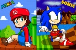 blue_eyes crossgender dress female girgrunny green_eyes grin hedgehog human mario mario_bros midriff nintendo sega sitting skirt sonic_(series) sonic_the_hedgehog video_games   Rating: Safe  Score: 3  User: Test-Subject_217601  Date: August 07, 2012