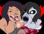 black_hair black_sclera blue_nipples breasts clothing crossover cum cum_on_breasts cum_on_tongue duo_focus faceless_male female ghost green_eyes grey_skin group hair hisako_(killer_instinct) human japanese_clothing killer_instinct kimono looking_at_viewer male mammal mckraken mileena monster mortal_kombat nightmare_fuel nipples not_furry open_mouth penis scary sharp_teeth spirit tarkatan teeth tongue tongue_out undead video_games yellow_eyes  Rating: Explicit Score: -1 User: ROTHY Date: February 04, 2016