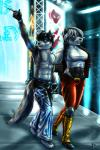 2016 abs anthro armband armpits badger bailey_rosworth belt biceps blue_eyes breasts brown_eyes canine chris_hayabusa clothed clothing crowd digital_media_(artwork) duo female fireworks fur gloves grin group hair hi_res kickpads kinojaggernov legwear lighting male mammal muscular muscular_female muscular_male mustelid pants pecs professional_wrestling randochris shirt short_hair show size_difference smile stage tag_team tight_clothing tights topless vest wolf wrestling
