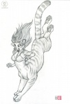 2011 action chakat dive feline female greyscale hair kacey long_hair mammal monochrome plain_background sketch solo taur tiger white_background  Rating: Safe Score: 4 User: stranger_furry Date: June 16, 2012""