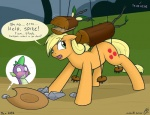 applejack_(mlp) blonde_hair blush confusion cowboy_hat cutie_mark dialogue dragon earth_pony equine fatalfox female feral friendship_is_magic green_eyes hair hat horse male mammal my_little_pony pony puppet rock scalie spike_(mlp) text timberwolf_(mlp) wood  Rating: Questionable Score: 29 User: therealfatalfox Date: December 31, 2012