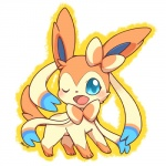 2013 ambiguous_gender blush bow eeveelution feral huiro looking_at_viewer nintendo one_eye_closed pokémon sylveon video_games wink   Rating: Safe  Score: 15  User: ScyStorm  Date: February 12, 2013