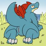 2016 aliasing anthro claws digital_media_(artwork) female feraligatr grass half-closed_eyes looking_at_viewer looking_back nintendo nude plump_labia pokémon presenting presenting_pussy pussy raised_tail reptile scalie sea sky solo toe_claws trout_(artist) video_games water  Rating: Explicit Score: 18 User: Guffin Date: April 30, 2016