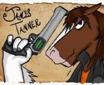anthro blue_eyes brown_fur bust_portrait clothing clydesdale digital_media_(artwork) draft_horse equine fur grey_outerwear gun hair handgun holding_object holding_weapon horse jacket james_tanner kello looking_at_viewer male mammal mane orange_clothing orange_topwear pistol portrait ranged_weapon shirt side_view solo weapon white_fur