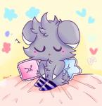 ambiguous_gender blush clothing espurr eyes_closed feline fur grey_fur leggings legwear mammal nintendo open_mouth pillow pokémon pokémon_(species) sitting sleeping slyvivi socks solo stockings video_games