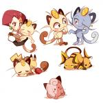 :3 alolan_meowth ambiguous_gender apple clefairy coin duo eyes_closed female food fruit hair human ipun jessie_(team_rocket) mammal meowth meowth_(team_rocket) multiple_images nintendo one_eye_closed pikachu pokémon raichu red_hair regional_variant simple_background solo star video_games white_background wink