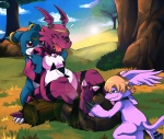 anthro bandai blue_eyes digimon eyes_closed female forest gazimon group guilmon hindpaw kinglom nature outside paws red_eyes restrained scalie sunset tickling tickling_feet tree veemon wood   Rating: Safe  Score: 7  User: DragonRanger  Date: June 14, 2012