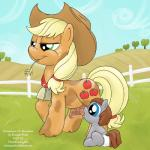 applejack_(mlp) baby booker_t._grey bovine breasts cattle cowbell cub diaper duo female friendship_is_magic hat lactating mammal my_little_pony original_character smudge_proof young   Rating: Questionable  Score: 5  User: Smudge_Proof  Date: February 22, 2014