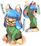 blue_hair blush fangs female hair inkling japanese_text nintendo orange_eyes pointy_ears solo splatoon tentacle_hair tentacles text translation_request unknown_artist video_games  Rating: Safe Score: 12 User: Nuji Date: September 24, 2015