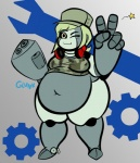 belly big_belly blonde_hair breasts clothing colored derpaggedon female gesture grey_body grey_skin gun hair hat headgear headphones headwear humanoid looking_at_viewer machine not_furry one_eye_closed overweight overweight_female overweight_humanoid plantigrade ranged_weapon robot robot_humanoid sine solo standing thick_thighs v_sign weapon wide_hips wink