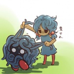 alternate_species blue_hair clothing cosplay dress duo female hair hitec human humanized legwear mammal messy_hair moemon nintendo not_furry pigtails pokémon pulling_hair short_hair sweat tangela thigh_highs video_games vines