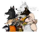 2016 aardwolf adam_bryce_thomas al_(weaver) ambiguous_gender anneke_(weaver) anthro avo_(weaver) badger betty_(weaver) bread burger canine caprine charlie_(weaver) cheese cigarette clothed clothing colored digital_drawing_(artwork) digital_media_(artwork) disney egyptian_wolf english_text ermine eyes_closed fan_character female food fox frown fur group hair hyena jackal laugh lettuce male mammal marty_(weaver) meat mustelid open_mouth ozzy_(weaver) pack_street portrait remmy_cormo retsofnoraa sheep sibling simple_background smile smoke smoking standing striped_hyena t_rex_(weaver) teeth text tongue twins white_background wolf wolter_(weaver) zootopia