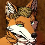 1:1 anthro blonde_hair bust_portrait canid canine conditional_dnp digital_media_(artwork) fox fur green_eyes hair male mammal nude orange_fur portrait ratte simple_background smile smirk solo walter_(20sofp) white_fur