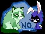 2013 alpha_channel beast_boy bunny_raven cat duo feline female feral green_eyes hi_res lagomorph male mammal purple_eyes rabbit raven_(teen_titans) ravenevert sitting tardar_sauce teen_titans whiskers   Rating: Safe  Score: 15  User: EmergencyAirdrop  Date: July 24, 2013
