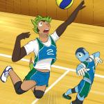 5_fingers action_pose ankle_socks anthro anthrofied ball blue_eyes blue_skin brown_eyes brown_skin chespin clothed clothing digital_drawing_(artwork) digital_media_(artwork) dipstick_tail duo footwear froakie fuze gloves_(marking) green_hair gym hair hi_res humanoid_hands jumping knee_pads legwear looking_aside looking_up male markings multicolored_tail nintendo open_mouth pink_nose playing_sport pokémon pokémon_(species) pokémorph pose shirt shoes short_hair shorts socks sport standing t-shirt tan_skin tank_top uniform video_games volleyball volleyball_(ball) volleyball_court white_skin yellow_sclera