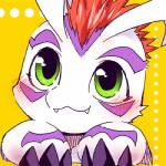 ambiguous_gender animated blinking blush claws digimon digimon_(species) fangs feral gomamon kensan long_ears low_res mammal marine mohawk pinniped simple_background solo yellow_background