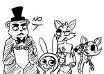 2015 2_heads animatronic anthro balloon_boy_(fnaf) bear black_and_white bow_tie bunny_costume canine clothed clothing costume dialogue digital_media_(artwork) english_text exposed_endoskeleton eye_patch eyewear fake_ears female five_nights_at_freddy's five_nights_at_freddy's_2 fox foxy_(fnaf) freddy_(fnaf) group hat humanoid inkyfrog machine male mammal mangle_(fnaf) monochrome multi_head robot simple_background text top_hat video_games white_background