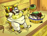 anthro breasts canid canine canis chair dripdry female furniture ice_cream_sundae jackal mammal overweight royaljellysandwich solo throne