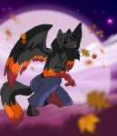 anthro black_fur black_hair canine clothed clothing cloud color flight flying fur hair half-dressed happy kneeling leaves male mammal moon orange_markings pandajenn pants sky smile star steelwings topless wings wolf   Rating: Safe  Score: 6  User: SteelWings  Date: November 13, 2010