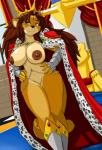 2015 anthro armor breasts brown_hair cape crown feline female gauntlets hair lion mammal nipples nude shonuff solo throne yellow_eyes   Rating: Questionable  Score: 27  User: Numeroth  Date: February 13, 2015