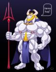 abs asgore_dreemurr beard biceps big_muscles body_hair caprine clothed clothing facial_hair goat happy_trail horn huge_muscles hyper hyper_muscles male mammal melee_weapon monster muscular nipples pecs polearm pubes solo text topless trident undertale video_games weapon wolfiecanem  Rating: Safe Score: 1 User: Tealmarket Date: February 07, 2016