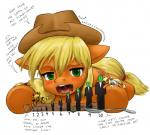 2013 alloyrabbit anonymous applejack_(mlp) blonde_hair blush cowboy_hat cutie_mark dialog english_text equine female feral freckles friendship_is_magic fur green_eyes hair halo hat horse lying macro mammal my_little_pony on_front open_mouth orange_fur plain_background pony spoon text tongue vorarephilia white_background   Rating: Safe  Score: -6  User: lemongrab  Date: October 03, 2013