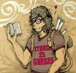 <3 backpack book clup eyewear feline glasses lion male mammal reading ruler solo  Rating: Safe Score: 0 User: baracudaboy Date: August 21, 2010