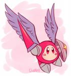 ambiguous_gender armor boots cilvia_mirell clothing feathered_wings feathers footwear galacta_knight hi_res kirby_(series) lance nintendo not_furry pink_background red_eyes rosy_cheeks shield signature simple_background solo video_games waddle_dee white_background wings