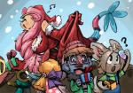 2013 ? anthro anthrofied armwear bent_over big_breasts bittenhard blush breasts christmas clothing cosplay digital_media_(artwork) elbow_gloves eyes_closed eyewear fan_character female gift gloves group hair hat holidays leaning leaning_forward milotic minccino musical_note nintendo outside pink_hair pokémon pokémorph pom_hat probopass santa_claus santa_clothes santa_hat smile sneasel snow snowing sofiya_ivanova video_games