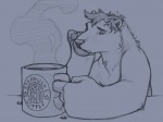 2007 anthro bear beverage black_eyes coffee eyebrows food fur grey_background hair half-closed_eyes male mammal pawpads paws simple_background sitting sketch smoke solo starbucks traditional_media_(artwork) white_sclera wolfy-nail  Rating: Safe Score: 3 User: DirtyRatMatt Date: April 16, 2016
